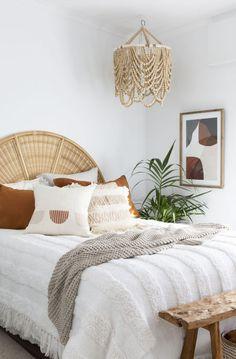 Rattan Headboard, Mirrored Side Tables, Affordable Storage, Interior Styling, Interior Design, Boho Kitchen, Vintage Sofa, Bedroom Styles, Bedroom Decor