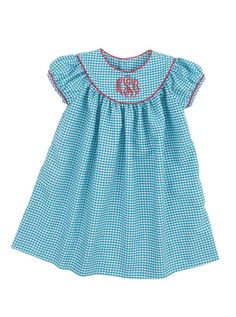classic bishop dress in turquoise gingham