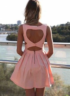 Pink Heart Cutout Dress with Fitted Bodice & Pleated Skirt,  Dress, heart cutout dress  sleeveless, Casual