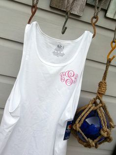 Monogrammed Tank Top for Ladies, Script Monogram Swim Suit Cover Up or Gym, Personalized Embroidered on Etsy, $18.00