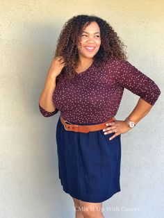 Target Who What Wear Tee, Target Skirt, Banana Republic Belt, and Watch - Got This Thing With Tees & Skirts… – Mix It Up With Curves