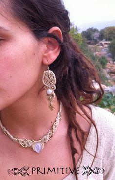 Tribal Gypsy Macrame Moonstone earrings with brass beads