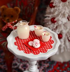 Miniature Christmas Eggnog Set by CuteinMiniature on Etsy