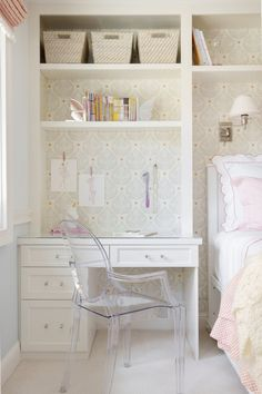 Kids Bed with Built In Desk as Nightstand - Transitional - Girl& Room Built In Desk, Room, Room Design, Girls Room Design, Bedroom Design, Bedroom Built Ins, Kid Beds, Small Bedroom, Desk For Girls Room
