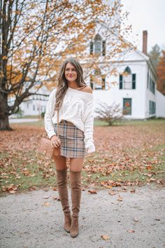 Plaid Skirt with Cable Knit Sweater – Southern Curls & Pearls