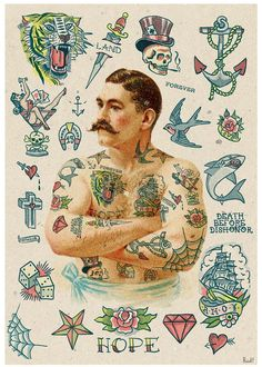 Old school Tattoo inspired design wall art poster Wall decor- Tattoo Art, Giclee… Repinned by www.stagandraven.com