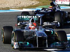 Schumacher leads Maldonado through the chicane at Jerez