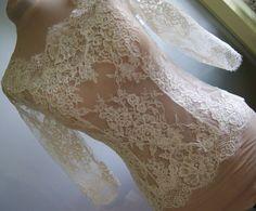 Amazing wedding bolero-top-jacket of lace,  sleeve 3/4, front of a full, alencon .  Romance bolero  DEBORAH