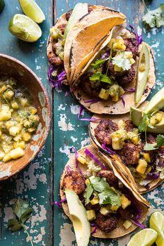 20 Minute Caribbean Shrimp Tacos with Roasted Jalapeño Pineapple Salsa | halfbakedharvest.com
