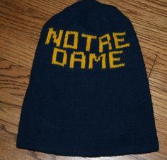 Vintage NOTRE DAME Fighting Irish Knit Beanie/stocking HAT-Football/blue&gold adult size/warm/stadium wear