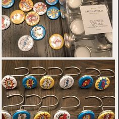 From PutOnYourPartyCap on Etsy: Pin Back Buttons or Magnets Party Favors. Superhero Bathroom, Brushed Nickel, Personalized Items, Love, Stars, Trending Outfits, Unique Jewelry, Bracelets, Handmade Gifts