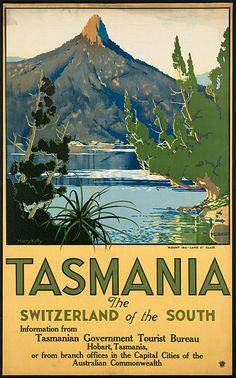 Retro Travel Posters -Tasmania, the Switzerland of the South
