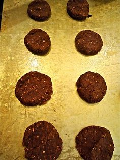 Vegan Almond Pulp Cookies:  1 cup leftover almond pulp  1 Tbs Flax soaked in 2 Tbs water  1/2 cup cocoa powder  1/2 cup coconut flakes  1/4 cup agave or maple syrup  1/4 cup apple sauce  1 tsp baking soda  1 tsp baking powder  1/2 tsp salt  Mix all ingredients and bake at 375 for 30 minutes.