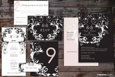 WEDDING STATIONERY SUITE | #BlackAndWhite with Pale Pink Damask Inspired Modern Vintage Graphics V Space, All Design, Graphic Design, Pink Damask, July 18th, Pale Pink, Wedding Stationery, Cool Designs, Product Portfolio
