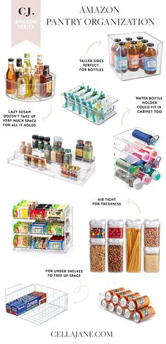 I'm always looking for ways to keep my house organized and I'm working on clearing up some space in my pantry. Not only does it make meal preparing easier, it also makes it easier to see what we… Small Pantry Organization, Home Organisation, Pantry Storage, Organization Ideas For The Home, Refrigerator Organization, Pantry Ideas, Home Organizer Ideas, Pantry Shelf Organizer, Small Pantry Cabinet