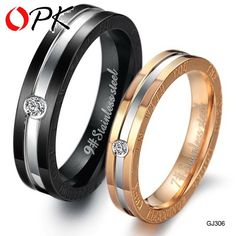 OPK Fashion Cubic Zirconia Lovers Wedding Engagement Rings Couple's Stainless Steel Jewelry Christmas Gift For Women Men 306 #Affiliate
