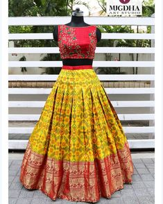 Here is a loud shout! your favorite croptops collection is back. We can customize the color and size as per your requirement. To Order… Half Saree Lehenga, Lehnga Dress, Lehenga Gown, Bandhani Dress, Floral Lehenga, Banarasi Lehenga, Lehenga Blouse, Indian Lehenga, Gown Dress