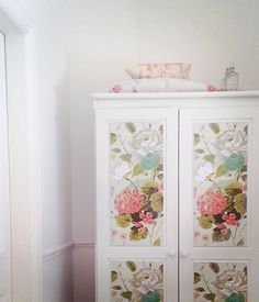 80's pine wardrobe gets a makeover painted with Annie Sloan chalk paint in Old White, and decorated with gorgeous botanical wrapping paper. www.findonline.ie