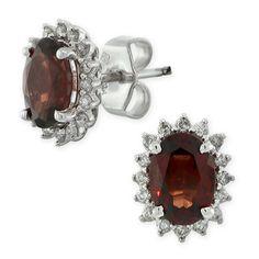 Garnet & Diamond Earrings in 14K white gold $399