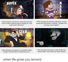 When life gives you lemons- Pines Family Edition>>> gravity falls, cave johnson, portal 2 Gravity Falls Funny, Gravity Falls Comics, Gravity Falls Art, Gravity Falls Fanfiction, Gravity Falls Journal, Gravity Falls Dipper, Fandoms, Disney Channel, Monster Falls