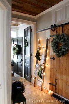 farmhouse Christmas hallway - love this whole house tour!!