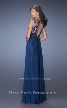 Lace Illusion Hand Pleated Dress by La Femme -Back-