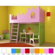 Antresola ZAMEK dla księżniczki - łóżko piętrowe z 3 letnią gwarancją. Kolor dobierasz wg własnego uznania. Antresola może być wyższa. Cena 1590 zł. Bunk Beds, Baby Room, Kids Room, Loft, Furniture, Home Decor, Cnc, Study, Sweet