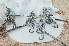 Beach Wedding Hair Accessories Silver Seahorse by ornatetreasures - $16.50