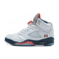 440888-103 Air Jordan Retro 5 Sneakers In White Varstiy Red Mid Navy (Women Men Gs Girls) Price: $102.89 http://www.theblueretros.com/