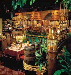 the Tonga Room - SF - where it rains into the pool every half hour