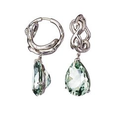 For Sale on - These Drop Earrings with Green Amethysts and White Diamonds are handcrafted in Palladium 950 and part of the AENEA Sarpa Signature collection. Diamond Dangle Earrings, Antique Earrings, Leaf Earrings, Palladium Blue, Green Topaz, Stone Gold, Amethyst Stone, Pearl Diamond, Amethysts