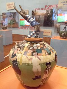 Aboriginal Women in Australia Celebrate Their Football Heroes with Pottery Hand Painted Pottery, Pottery Painting, Ian Potter, Wall Text, Ceramic Workshop, Coil Pots, Aboriginal Artists, Alice Springs, Ceramic Pots
