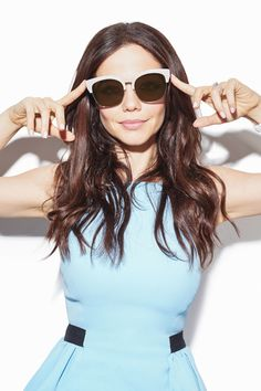 """Pretty Little Liars'"" Queen of Sunglasses Tammin Sursok Shows You Her Off Duty Look in Cotton On Malibu Flat Lens Sunglasses"