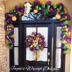 Custom Order - 12' Mardi Gras Garland with Ornaments, Fleur de Lis, and decorative picks, and Jester Wreath  Jayne's wreath designs on FB