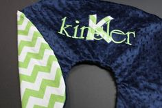 Personalized Chevron Boppy Cover -Customized 2 color minky boppy cover with Applique Initial and Name