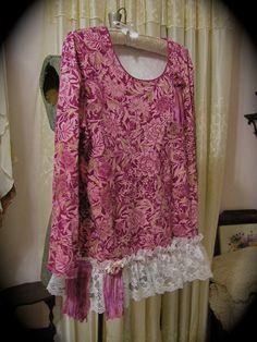 Pink Cotton Top, white ruffle lace hem, upcycled clothing shirt, altered clothing LARGE. $68.00, via Etsy.