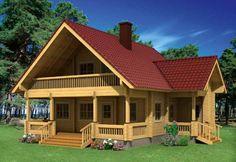 Casa de madera tipo alpino, se suministra en kit completo de madera laminada. Disponible dos grosores, 114 mm y 134 mm. Casas en kit de madera laminada