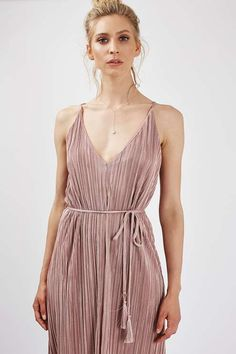 Topshop.com | We love everything about this pleated wrap midi dress with a cord belt and tassel. Click to shop!