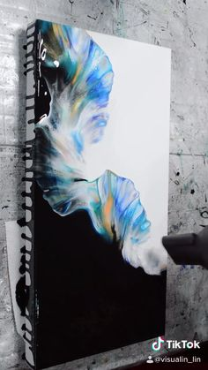 Canvas Painting Tutorials, Diy Canvas Art, Abstract Painting Techniques, Abstract Canvas Art, Seascape Paintings, Acrylic Pouring Art, Acrylic Art, Painting & Drawing, Painting Styles