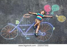 Happy little kid boy having fun with bicycle and air balloons picture drawing with colorful chalks on asphalt. Recycled T Shirts, Recycled Crafts, Indoor Activities For Kids, Crafts For Kids, Children Activities, Air Image, Balloon Pictures, Colored Chalk, Stem Science