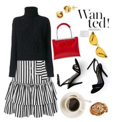 """""""Saturday in Black, white and red"""" by piedraandjesus ❤ liked on Polyvore featuring Caroline Constas, LULUS, Lord & Taylor, Illesteva, Alexander Wang and Yves Saint Laurent"""