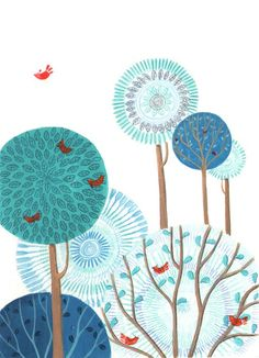 Paintspiration!  I love the round trees and the birds! Martina Peluso