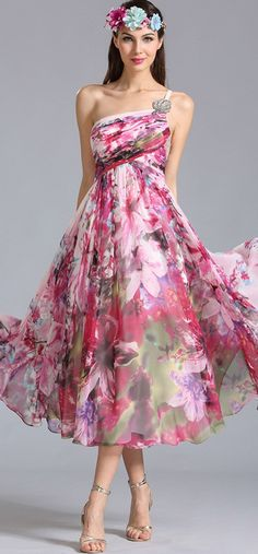 One Shoulder Printed Party Dress