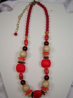 2 Necklaces Czech Glass Wood Bead Bohemian Red & Brown NEW Vintage Chunky  #ClassicoCollectionNYC