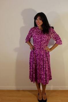 1960s Purple Floral Day Dress by VintageRevival818 on Etsy