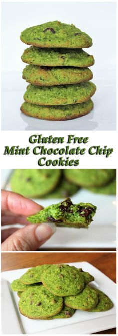 These gluten free cookies are colored naturally with spinach and it doesn't affect the flavor! If you aren't super into mint, you can leave the mint out and make these plain chocolate chip cookies.