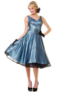 STOP STARING 50's Sky Blue Polka Dot Mesh Grace Swing Dress - S-3X **Dress no longer available on website, changed link to storefront