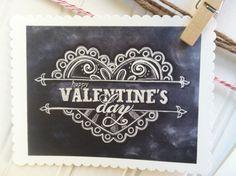 Digital DIY Happy Valentines Day Chalk Valentines Day Card. $12.00, via Etsy.