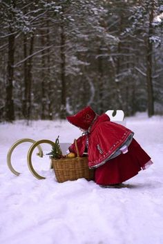 red riding hood in snow