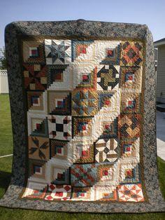 Award winning  Log Cabin Sampler Quilt 80x100 with Civil War repro fabrics- Navajo Quilter